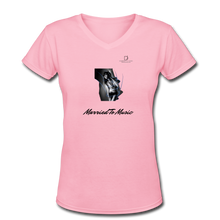 "Load image into Gallery viewer, Women DJ's Dream Logo - ""Married To Music"" Girl-Art Women's V-Neck T-Shirt - pink"