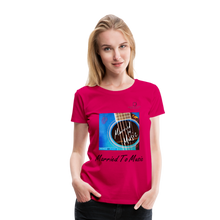 "Load image into Gallery viewer, Women DJ's Dream Logo - ""Married To Music"" Blue Guitar Women's Premium T-Shirt - dark pink"