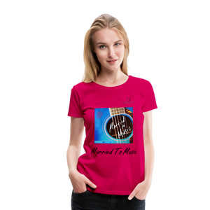 "Women DJ's Dream Logo - ""Married To Music"" Blue Guitar Women's Premium T-Shirt - dark pink"