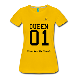 "Women DJ's Dream Logo - ""Married To Music"" Queen 01 Women's Premium T-Shirt - sun yellow"