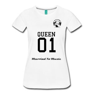 "Premier DJ E-Luv Logo - ""Married To Music"" Queen 01 Women's Premium T-Shirt - white"