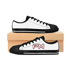 "P.M. - ""Perfect Makeup"" Line - Raspberry Logo Custom Design Women's Low-Top Sneakers"