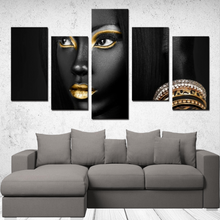 "Load image into Gallery viewer, ""Beautiful Black Women"" Line - (Dark & Elegant) 5 Panels Canvas Wall Art"