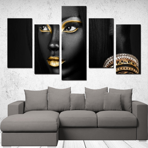 """Beautiful Black Women"" Line - (Dark & Elegant) 5 Panels Canvas Wall Art"