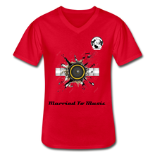 "Load image into Gallery viewer, Premier DJ E-Luv Logo - ""Married To Music"" Speaker Men's V-Neck T-Shirt - red"