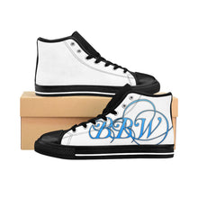 "Load image into Gallery viewer, BBW - ""Beautiful Black Women"" Line - Baby Blue Logo Custom Women's High-Top Sneakers"