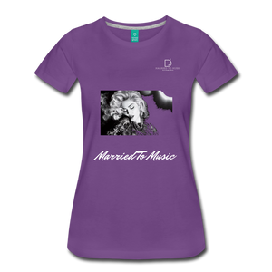 "Women DJ's Dream Logo - ""Married To Music"" Iconic Madonna Women's Premium Black T-Shirt - purple"