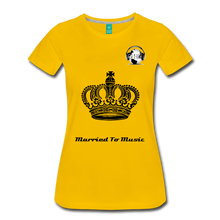 "Load image into Gallery viewer, Premier DJ E-Luv Logo - ""Married To Music"" Queen Crown Women's Premium T-Shirt - sun yellow"