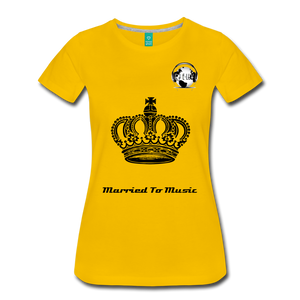 "Premier DJ E-Luv Logo - ""Married To Music"" Queen Crown Women's Premium T-Shirt - sun yellow"