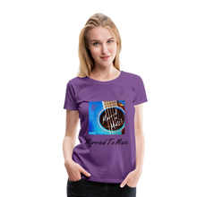 "Load image into Gallery viewer, Women DJ's Dream Logo - ""Married To Music"" Blue Guitar Women's Premium T-Shirt - purple"