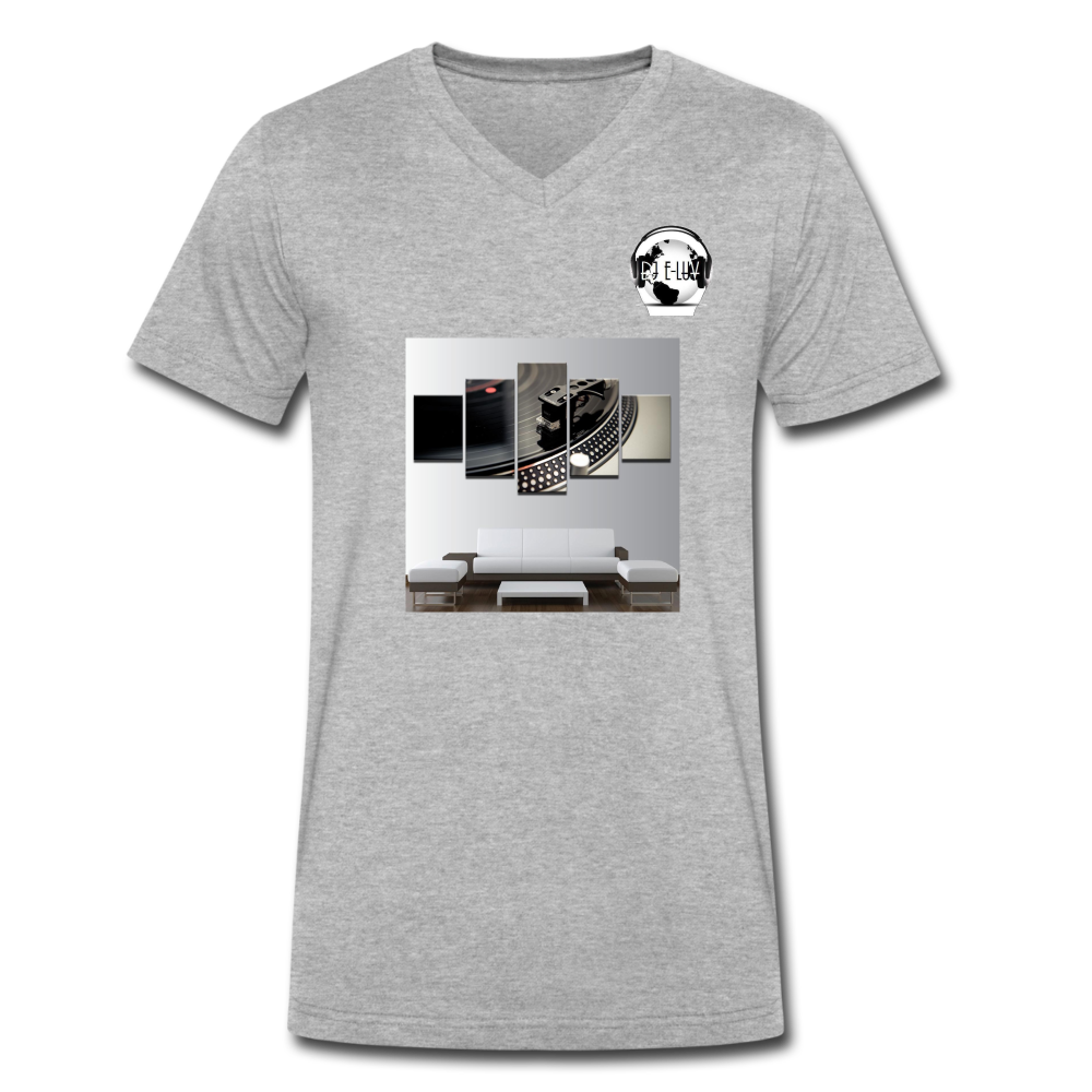 Premier DJ E-Luv Logo - Turntable Wall Art - Men's V-Neck T-Shirt by Canvas - heather gray
