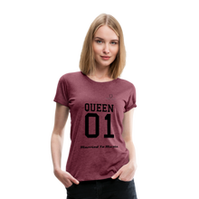 "Load image into Gallery viewer, Women DJ's Dream Logo - ""Married To Music"" Queen 01 Women's Premium T-Shirt - heather burgundy"