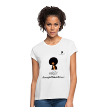 "Load image into Gallery viewer, ""Beautiful Black Women"" Line - (Classic Afro) Relaxed Fit Cotton T-Shirt - white"