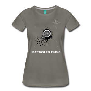"Women DJ's Dream Logo - ""Married To Music"" Speaker Box Women's Premium T-Shirt - asphalt gray"