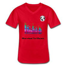 "Load image into Gallery viewer, Premier DJ E-Luv Logo - ""Married To Music"" Line White E.Q. Slant Men's V-Neck T-Shirt - red"