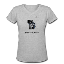"Load image into Gallery viewer, Women DJ's Dream Logo - ""Married To Music"" Girl-Art Women's V-Neck T-Shirt - gray"