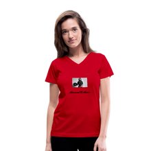 "Load image into Gallery viewer, Women DJ's Dream Logo - ""Married To Music"" Female DJ & Vinyl V-Neck Premium T-Shirt - red"