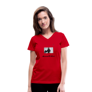 "Women DJ's Dream Logo - ""Married To Music"" Female DJ & Vinyl V-Neck Premium T-Shirt - red"