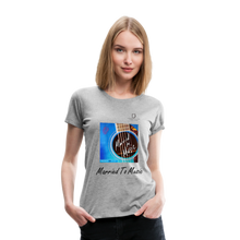 "Load image into Gallery viewer, Women DJ's Dream Logo - ""Married To Music"" Blue Guitar Women's Premium T-Shirt - heather gray"