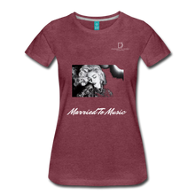 "Load image into Gallery viewer, Women DJ's Dream Logo - ""Married To Music"" Iconic Madonna Women's Premium Black T-Shirt - heather burgundy"