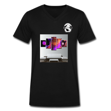 Load image into Gallery viewer, Premier DJ E-Luv Logo - Turntables & Mixer Wall Art - Men's V-Neck T-Shirt by Canvas - black