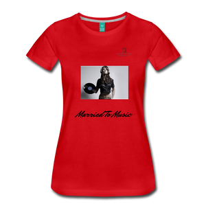 "Women DJ's Dream Logo - ""Married To Music"" Female DJ & Vinyl Women's Premium T-Shirt - red"