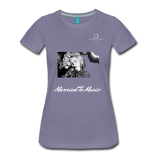 "Load image into Gallery viewer, Women DJ's Dream Logo - ""Married To Music"" Iconic Madonna Women's Premium Black T-Shirt - washed violet"
