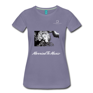 "Women DJ's Dream Logo - ""Married To Music"" Iconic Madonna Women's Premium Black T-Shirt - washed violet"