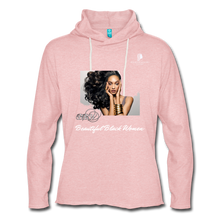 "Load image into Gallery viewer, ""Beautiful Black Women"" Line - (Inviting) Unisex Lightweight Terry Hoodie - cream heather pink"