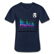 "Load image into Gallery viewer, Premier DJ E-Luv Logo - ""Married To Music"" Line White E.Q. Slant Men's V-Neck T-Shirt - navy"