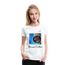 "Load image into Gallery viewer, Women DJ's Dream Logo - ""Married To Music"" Blue Guitar Women's Premium T-Shirt - white"