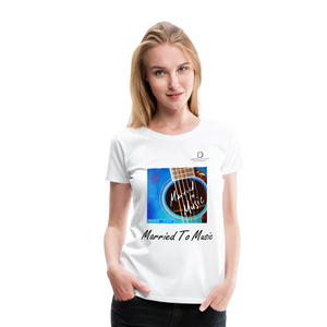 "Women DJ's Dream Logo - ""Married To Music"" Blue Guitar Women's Premium T-Shirt - white"