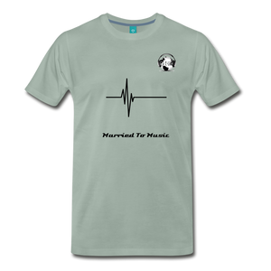 "Premier DJ E-Luv Logo - ""Married To Music"" Signature Men's Premium T-Shirt - steel green"