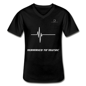 DJ's Dream Attire Logo - Married To Music Line Men's V-Neck T-Shirt - black