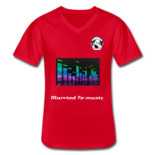 "Load image into Gallery viewer, Premier DJ E-Luv Logo - ""Married To Music"" Line E.Q. Slant Men's V-Neck T-Shirt - red"