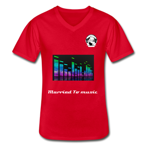 "Premier DJ E-Luv Logo - ""Married To Music"" Line E.Q. Slant Men's V-Neck T-Shirt - red"