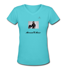 "Load image into Gallery viewer, Women DJ's Dream Logo - ""Married To Music"" Female DJ & Vinyl V-Neck Premium T-Shirt - aqua"