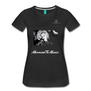 "Women DJ's Dream Logo - ""Married To Music"" Iconic Madonna Women's Premium Black T-Shirt - black"