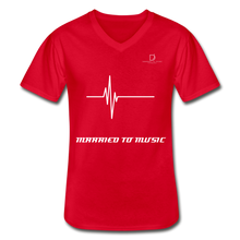 Load image into Gallery viewer, DJ's Dream Attire Logo - Married To Music Line Men's V-Neck T-Shirt - red