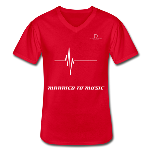 DJ's Dream Attire Logo - Married To Music Line Men's V-Neck T-Shirt - red