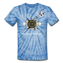 "Load image into Gallery viewer, Premier DJ E-Luv Logo - ""Married To Music"" Speaker Box Unisex Tie Dye T-Shirt - spider baby blue"