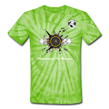 "Load image into Gallery viewer, Premier DJ E-Luv Logo - ""Married To Music"" Speaker Box Unisex Tie Dye T-Shirt - spider lime green"