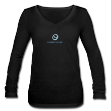 "Load image into Gallery viewer, Next Level *Official ""Queen Level"" - Women's Long Sleeve Black  V-Neck Flowy Tee - black"