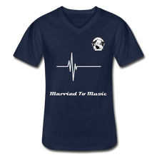 "Load image into Gallery viewer, Premier DJ E-Luv Logo - ""Married To Music"" Signature Men's Navy V-Neck T-Shirt - navy"