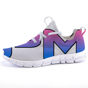 "P.M. - ""Perfect Makeup"" Line - Women's Lightweight *Breathable Pink-Blue Two-Tone Casual Sports Sneakers"