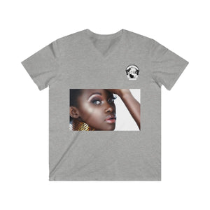"Premier DJ E-Luv Logo - ""Beautiful Black Women"" Line - (Tempting) Men's Fitted V-Neck Short Sleeve Soft Tee"