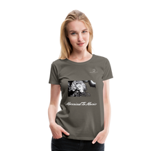 "Load image into Gallery viewer, Women DJ's Dream Logo - ""Married To Music"" Iconic Madonna Women's Premium Black T-Shirt - asphalt gray"