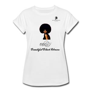 """Beautiful Black Women"" Line - (Classic Afro) Relaxed Fit Cotton T-Shirt - white"