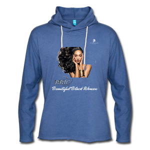 """Beautiful Black Women"" Line - (Inviting) Unisex Lightweight Terry Hoodie - heather Blue"