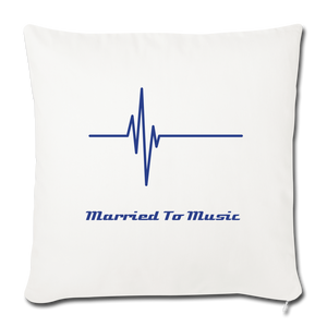 """Married To Music"" Line - Navy Style Throw Pillow Cover 18"" x 18"" - natural white"